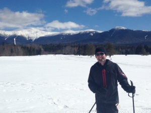 Enjoying the trails and the view at the Mount Washington Nordic Ski Trails